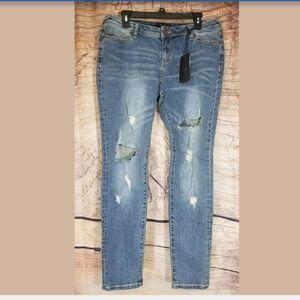 Poetic Justice Maya Denim Distressed Skinny Jeans